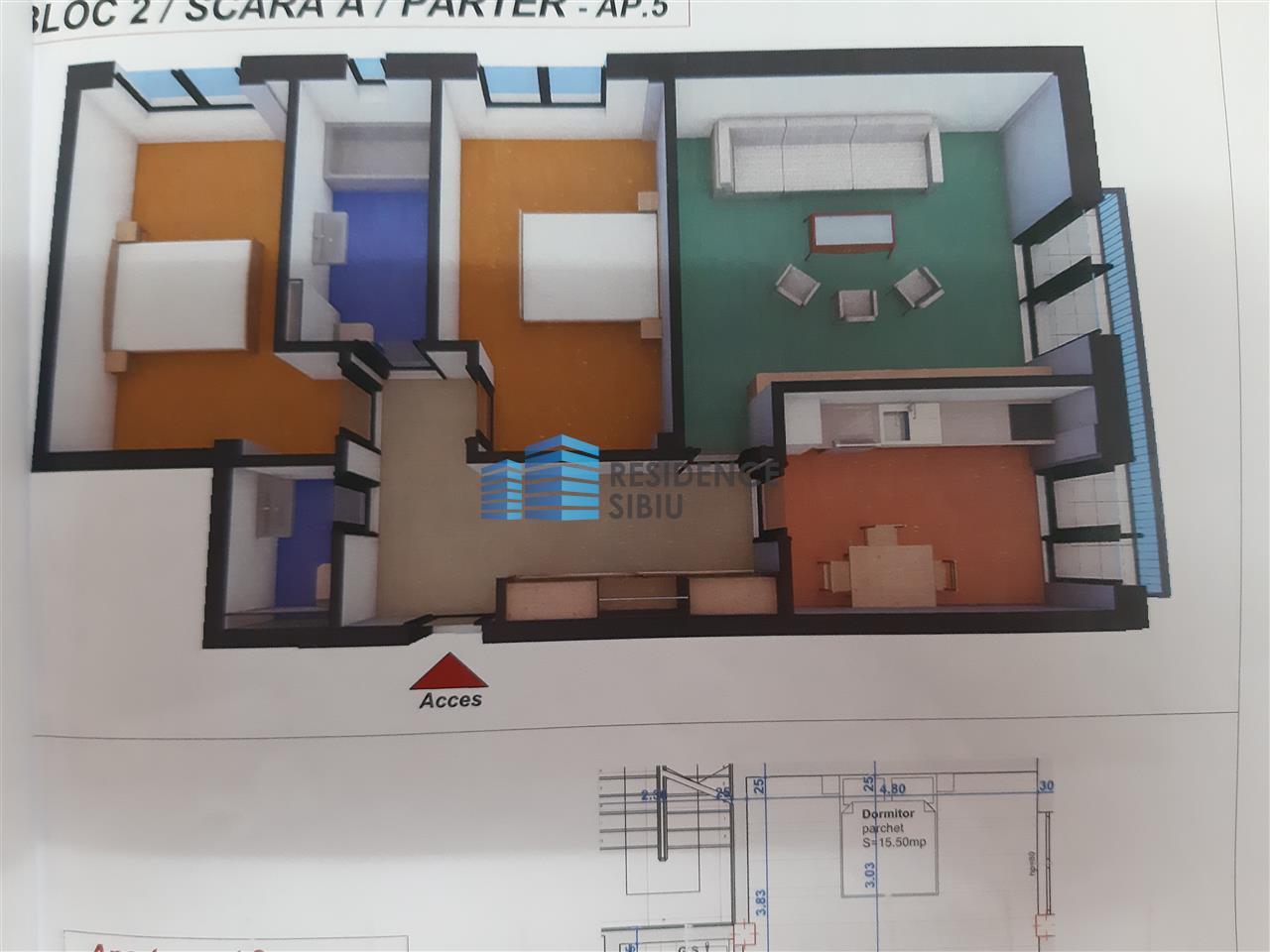 Apartament NOU 3 camere decomandate de vanzare in Sibiu, Turnisor