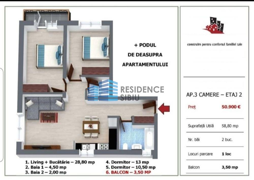 Apartament 3 camere direct de la dezvoltator in Selimbar