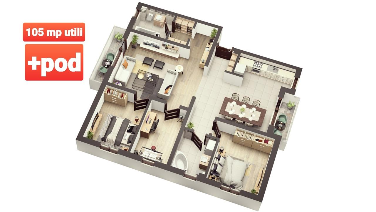 Apartament NOU, intabulat de vanzare in Sibiu