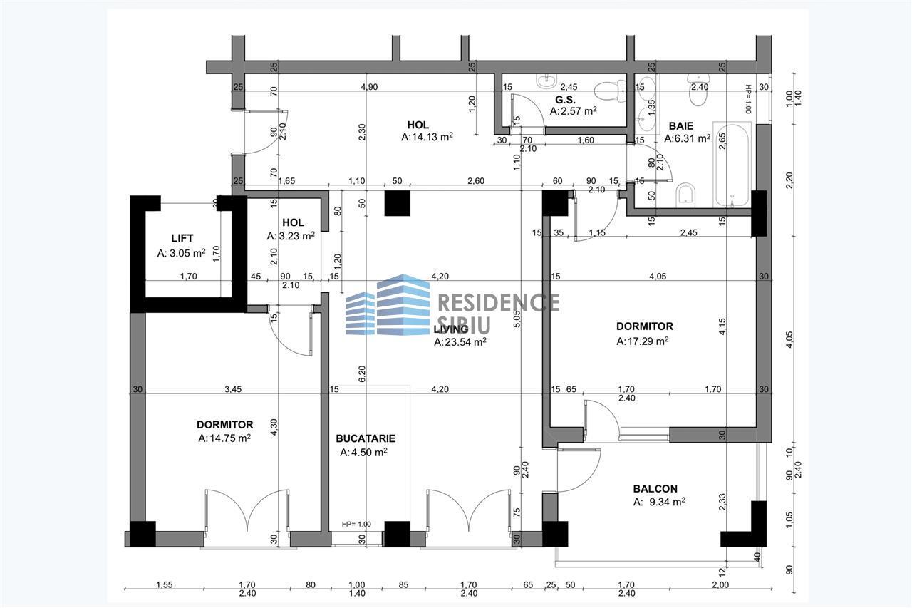 Apartament 3 camere, Parter, Tip 2, Balanta Residence Sibiu
