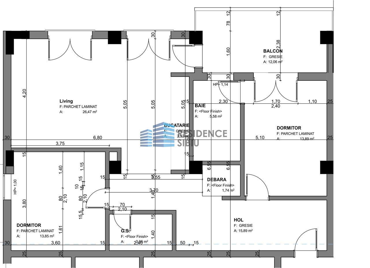 Apartament 3 camere, Tip 1, etajul 1 3, Balanta Residence Sibiu