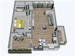 Apartamente Balanta cu 2 camere, Tip 1, etajul 1, 2 si 3