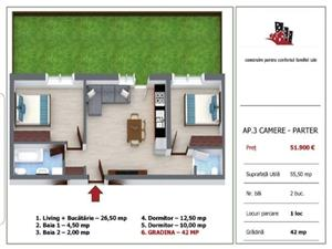 Apartament 3 camere cu gradina in Selimbar