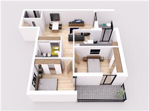 Apartament 3 camere la cheie cu terasa, Selimbar